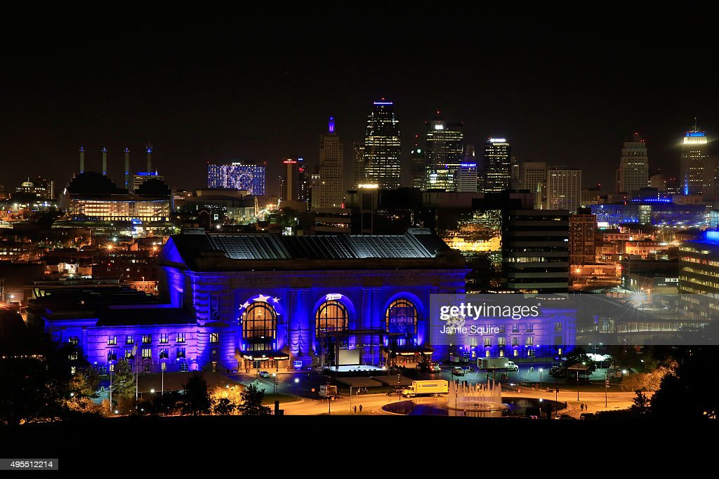 Union Station is lit up with blue lights in front of the Kansas City skyline ahead of a parade and celebration in honor of the Kansas City Royals' World Series win on November 3, 2015 in Kansas City, Missouri.
