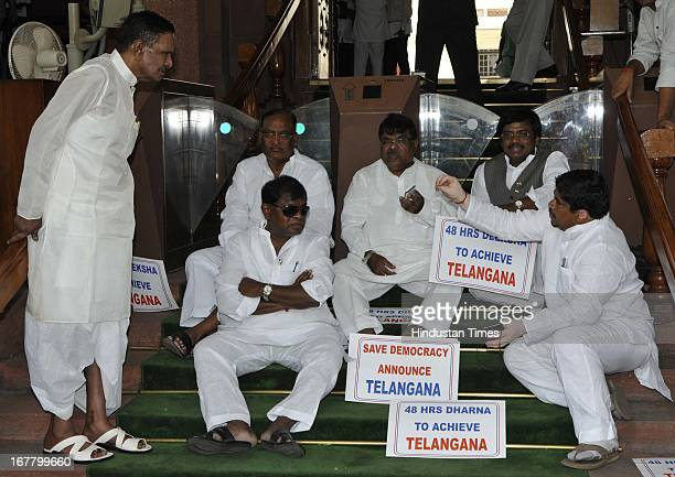 Union Steel Minister Beni Prasad Verma meets with five Members of Parliament from Congress Party sit-in for 48 hours, today they have completed 24...