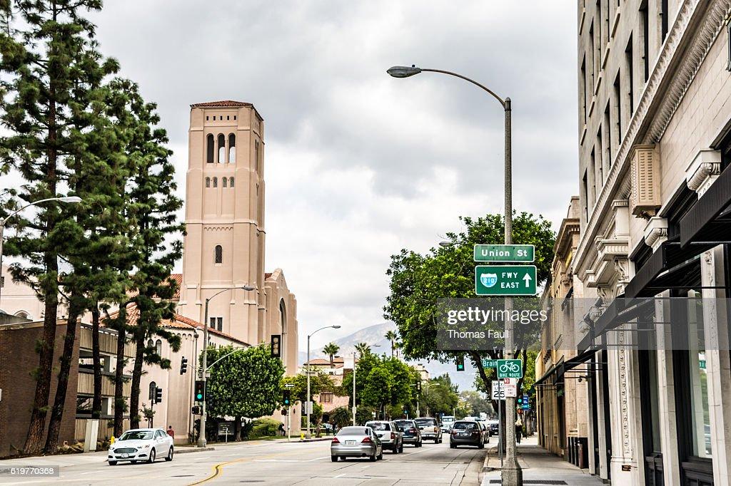 Union Street to First Baptist Church Pasadena - Los Angeles : Stock Photo