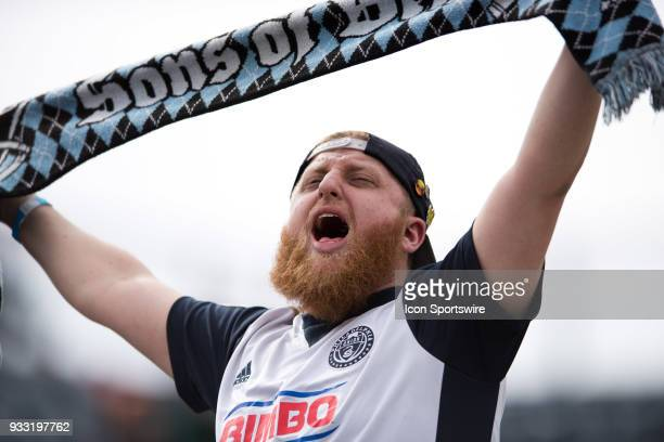 Union supporter helps lead cheers during the game between the Columbus Crew and Philadelphia Union on March 17 2018 at Talen Energy Stadium in...