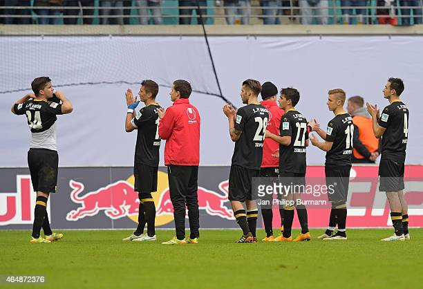 Union Team acknowledges the fans during the game between RB Leipzig and 1 FC Union Berlin on March 1 2015 in Leipzig Germany