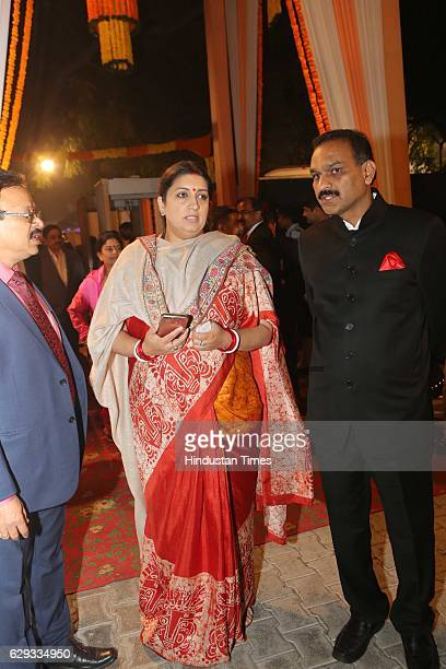 Union Textile Minister Smriti Irani at the wedding reception of Union Minister Nitin Gadkari's daughter Ketki and Aditya Kaskhedikar on December 8...