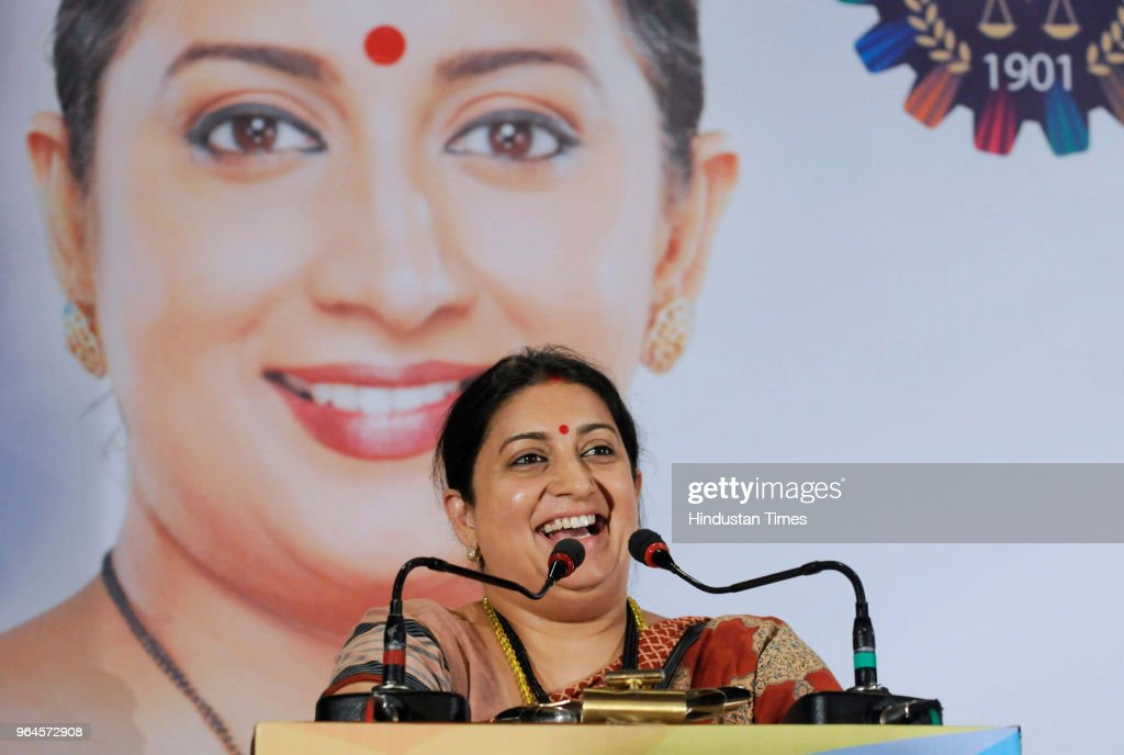 Union Textile Minister Smriti Irani during an interactive session with Merchants` Chamber of Commerce and Industry at Grand Hotel on May 31 2018 in...