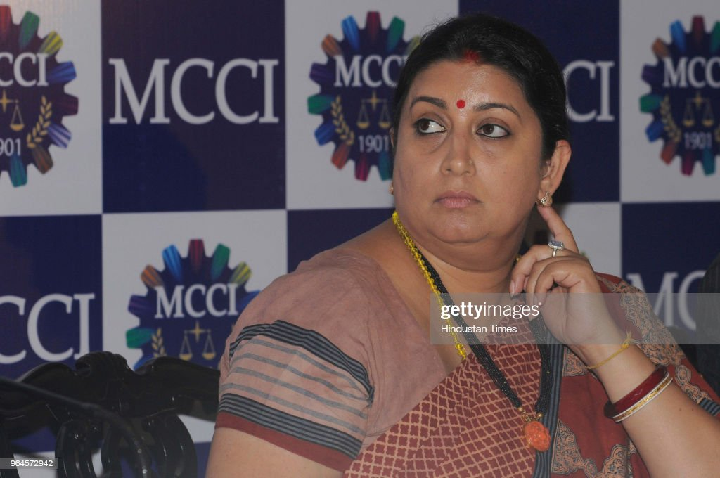 Union Textile Minister Smriti Irani looks on during an interactive session with Merchants` Chamber of Commerce and Industry at Grand Hotel on May 31..