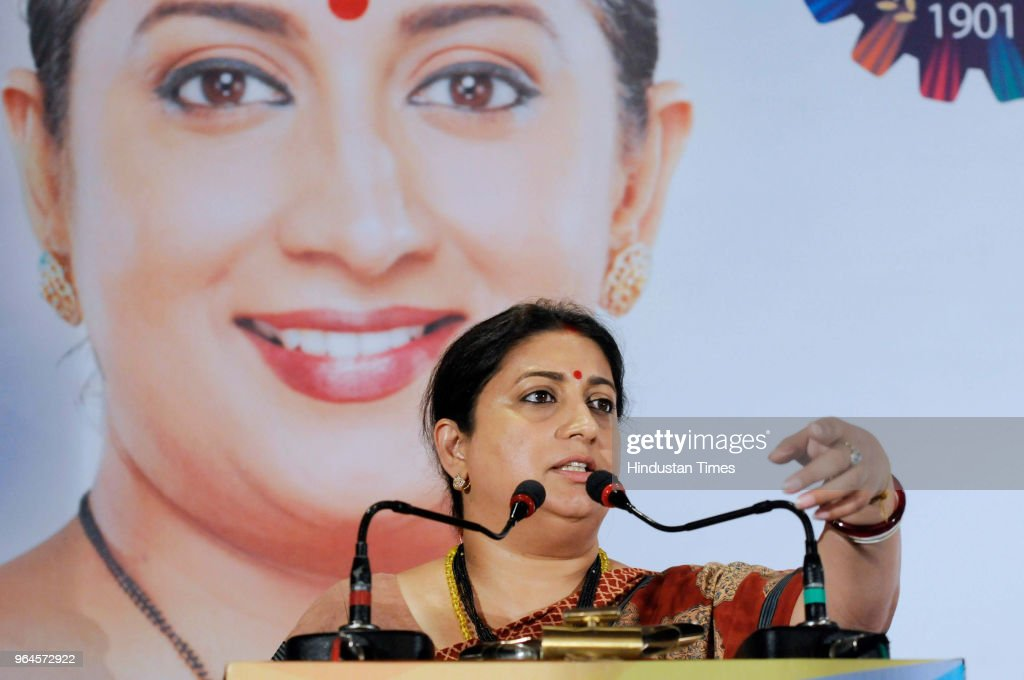 Union Textile Minister Smriti Irani speaks during an interactive session with Merchants` Chamber of Commerce and Industry at Grand Hotel on May 31...
