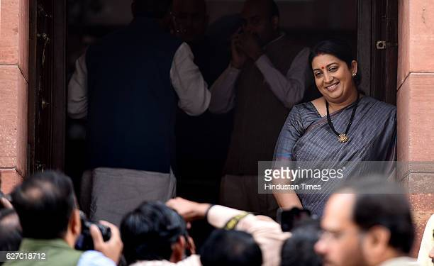 Union Textiles Minister Smriti Irani at Parliament House during the winter session on December 1 2016 in New Delhi India The Lok Sabha was adjourned...