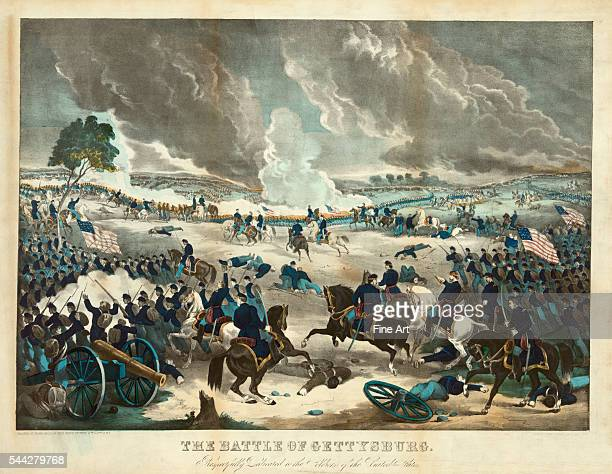 Union Troops Advance at the Battle of Gettysburg, hand-colored lithograph printed by Wm. C. Robertson, published by Thomas Kelly, 1867.