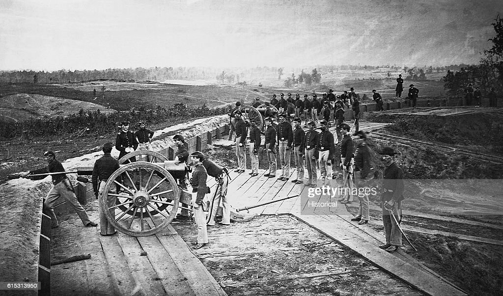 Union Troops in Captured Confederate Fort : News Photo