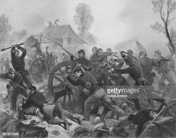 Union troops from the 4th Brigade of the 2nd Division Army of the Ohio under the command of Brigadier General Lovell H. Rousseau attack and recapture...