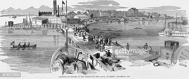 Union troops land at the United States Naval Academy in Annapolis Maryland ca 1864