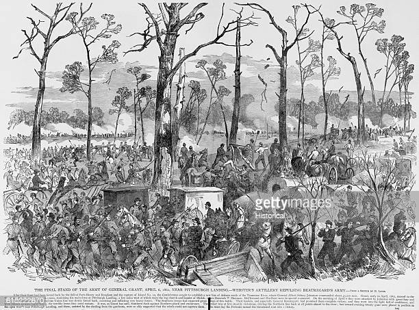 Union troops under General Ulysses S Grant make their successful final stand at Pittsburg Landing Tennessee on April 6 1862 during the Shiloh Campaign