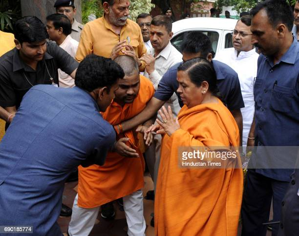 Union Water Resource Minister Uma Bharti reaches at VVIP guest house on May 30 2017 in Lucknow India Senior BJP leaders LK Advani Union Minister Uma...