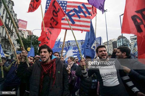 Union workers along with members of social political and students organizations demonstrate against the government's negotiations with the...
