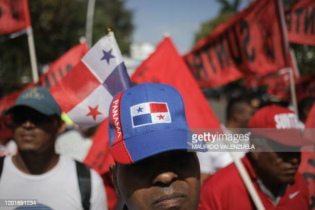 Union workers protest the presence of Luis Almagro Secretary General of the Organization of American States outside the Panamanian Chamber of...
