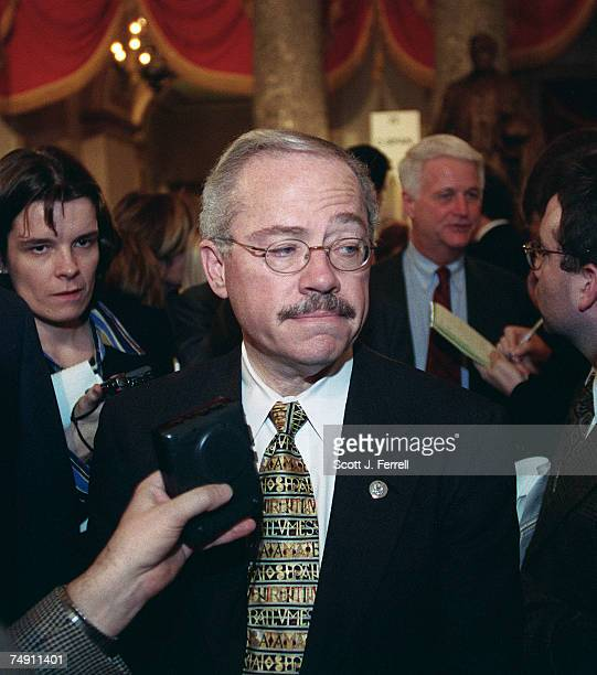 UNIONBob Barr RGa listens to a reporter's question in Statuary Hall after the State of the Union address by President Bill Clinton Bill Delahunt...