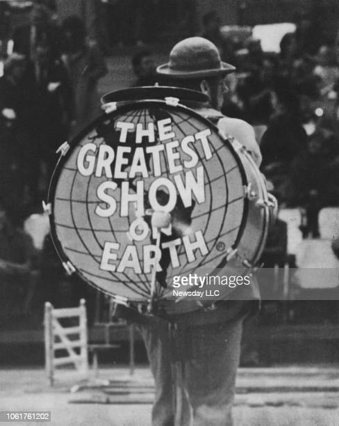 """Drum with the Ringling Bros. And Barnum & Bailey Circus's motto, """"The Greatest Show on Earth,"""" is featured during a clown parade at Nassau Coliseum..."""