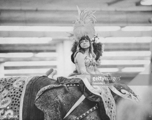 Performer waits on top of and elephant for the opening number at Ringling Bros. And Barnum & Bailey Circus at Nassau Coliseum in Uniondale, New York...