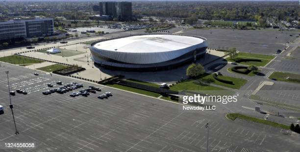An aerial view of NYCB Live Nassau Coliseum at the Hub in Uniondale, New York on April 22, 2021.
