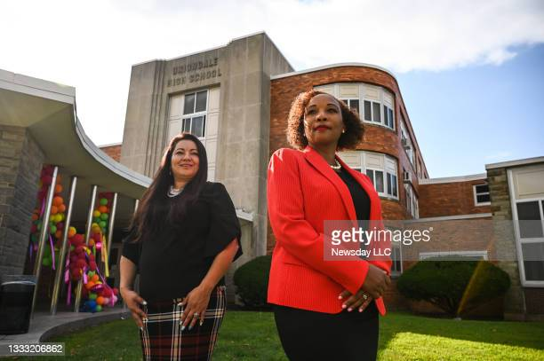 Dr. Monique Akil, superintendent of schools at the Uniondale Union Free School District, right, and Ms. Adelina Blanco-Harvey, President, Uniondale...