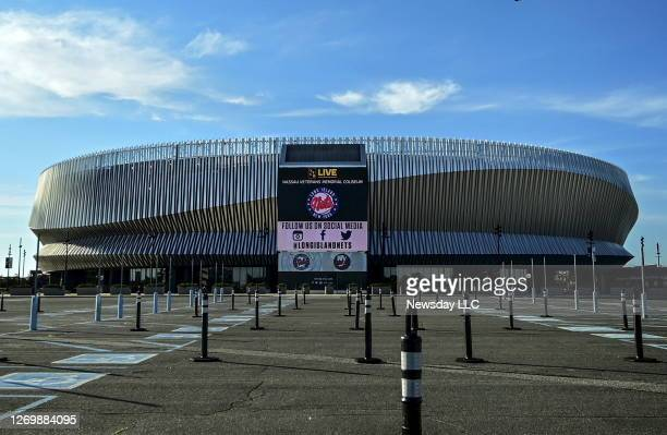 Photo of the exterior and parking lot of the NYCB Live / Nassau Veterans Memorial Coliseum on June 16, 2020.