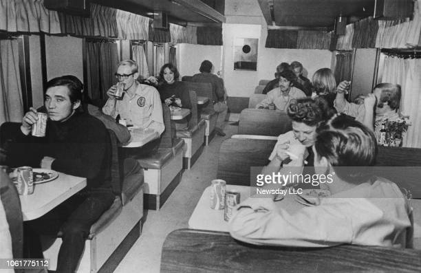 Ringling Bros. And Barnum & Bailey circus performers eat a meal on their train's pie car during a visit to Nassau Coliseum in Uniondale, New York on...