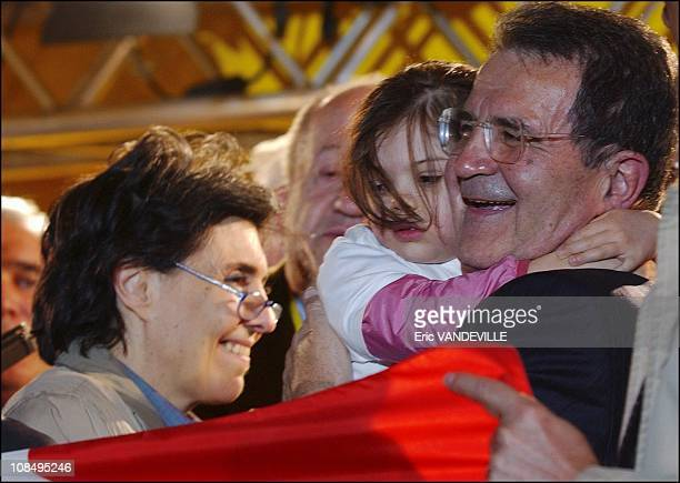 Unione centerleft coalition leader Romano Prodi right celebrates with his granddaughter Chiara wearing a tshirt saying 'grandad for president Left...