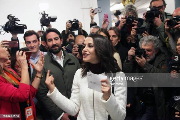 Unionist leader and Ciudadanos candidate Ines Arrimadas during the voting journey in Catalonia of December 21 2017