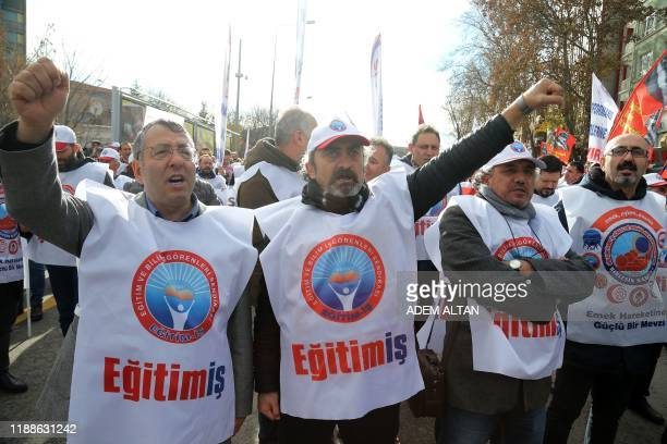 Unionists protest against the government's economic policies in Ankara on December 14, 2019.