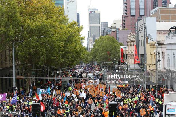 Unions and workers protest at the steps of Parliament House on April 10 2019 in Melbourne Australia The Change The Rules rally is calling for for...
