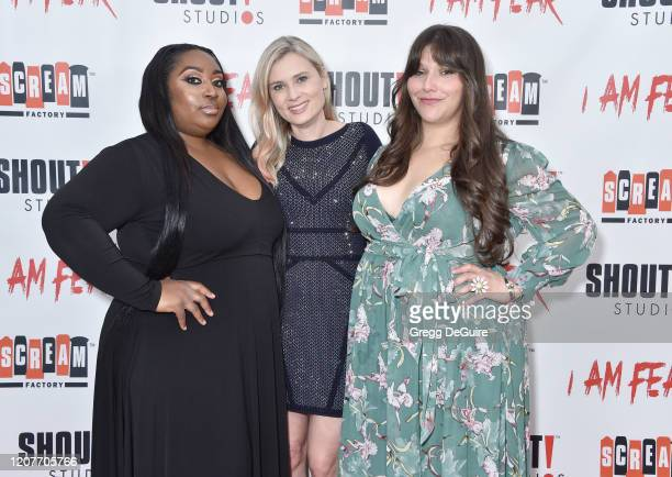 """Unique Chung Kristina Klebe and Dina Silva attend the Los Angeles Premiere of Roxwell Films """"I Am Fear"""" at Laemmle Monica Film Center on February 20..."""