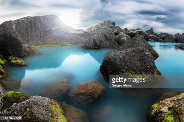 unique color stórurð lake in east iceland - innocence stock pictures, royalty-free photos & images
