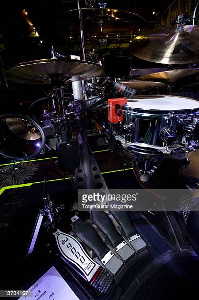 Unique custom-built drum kit belonging to Rick Allen of English hard rock group Def Leppard, at the O2 Academy in London, on May 6, 2008.