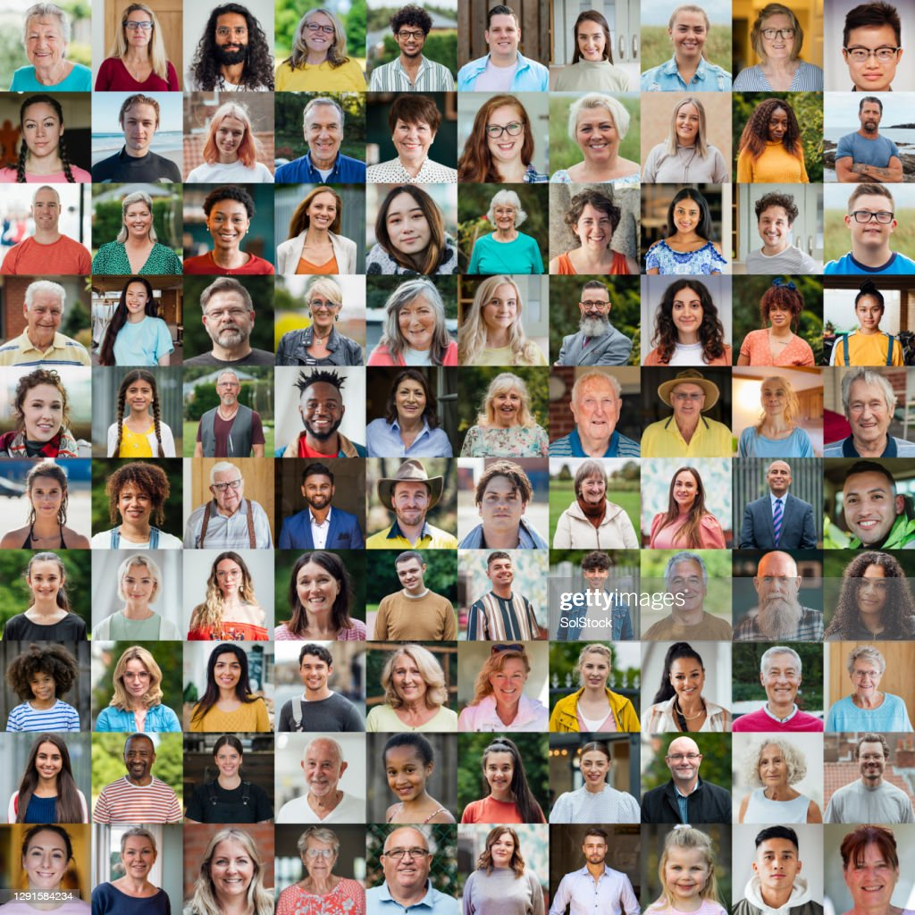 100 Unique Faces Collage : Stock Photo