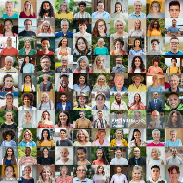100 unique faces collage - equality stock pictures, royalty-free photos & images