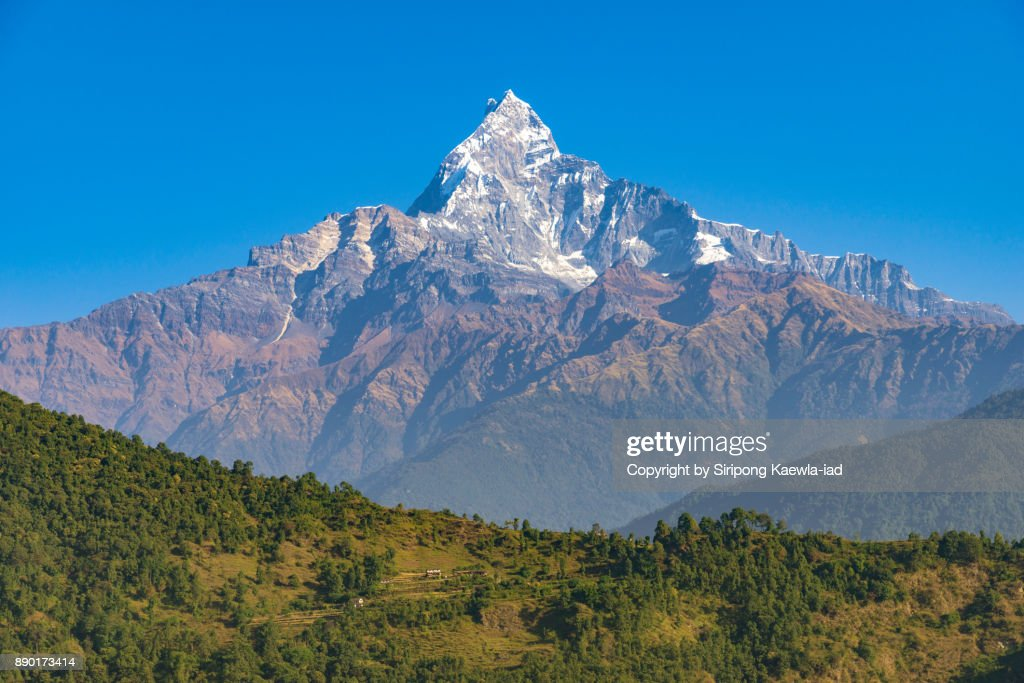Unique shape of the Machhapuchhre (Fish Tail) peak with blue sky from Pokhara, Nepal. : Stock Photo