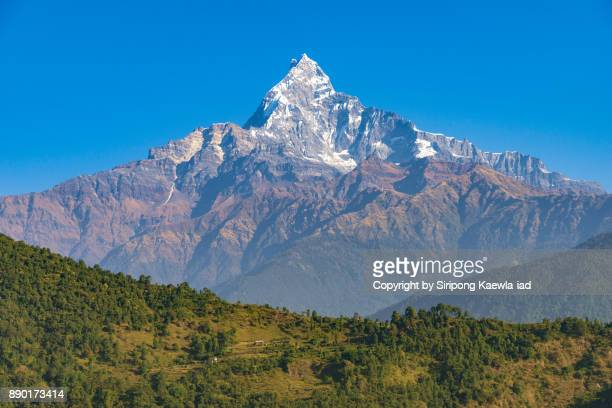 Unique shape of the Machhapuchhre (Fish Tail) peak with blue sky from Pokhara, Nepal.
