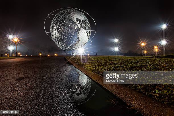 unisphere reflection - flushing queens stock pictures, royalty-free photos & images