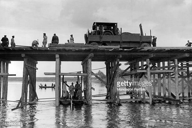 A unit of the OT constructing a bridge in the area of Lake Peipus Estonia Russia October 1941