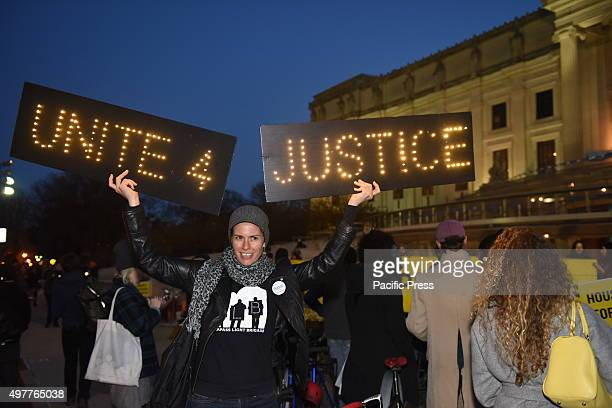 Unite For Justice sign in front of Brooklyn Museum ASAP Artists Studio Affordability Project capped a day of protest in front of the Brooklyn Museum...