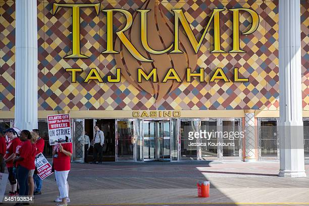 Unite Here local 54 casino worker's union members protest outside Trump Taj Mahal casino on July 6 2016 in Atlantic City New Jersey Hillary Clinton...