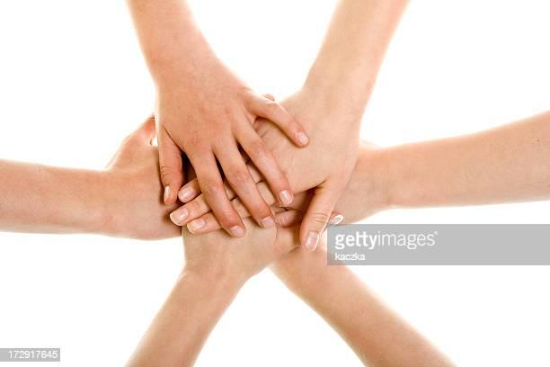 unire - mani incrociate foto e immagini stock