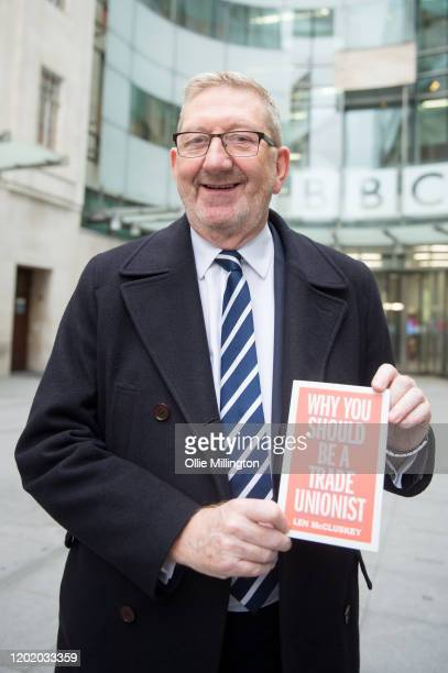 Unite the Union General Secretary Len McCluskey poses with his book 'Why You Should Be a Trade Unionist' at the BBC Broadcasting House after...