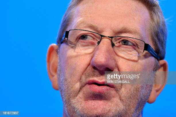 Unite trade union General Secretary Len McCluskey addresses delegates during the second day of the Labour party conference in Brighton Sussex south...