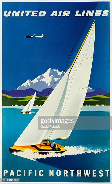 United Air Lines Pacific Northwest Travel Poster by Joseph Binder