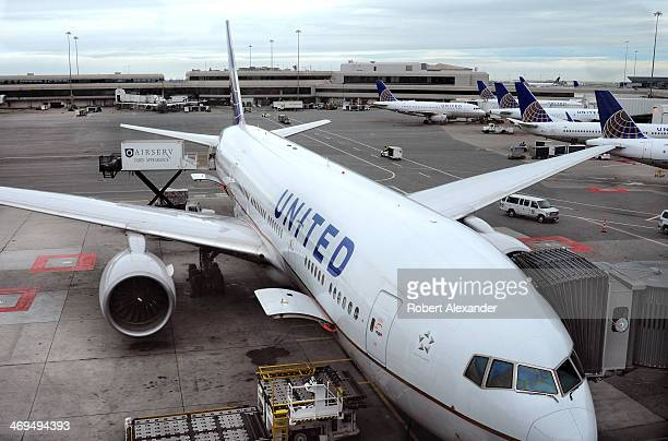 United Airlines Airbus A319 aircraft is serviced at the gate at San Francisco International Airport in San Francisco California