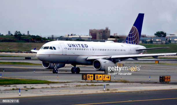 United Airlines Airbus passenger jet taxis at LaGuardia Airport in New York New York