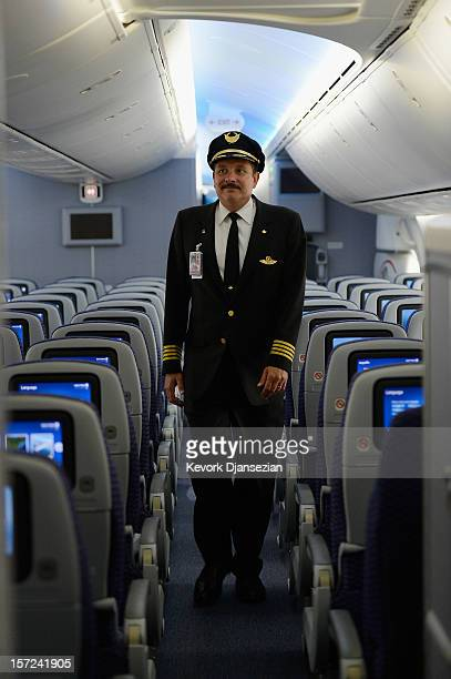 United Airlines Assistant Chief Pilot Glen McGeary tours the new Boeing 787 Dreamliner at Los Angeles International Airport on November 30, 2012 in...