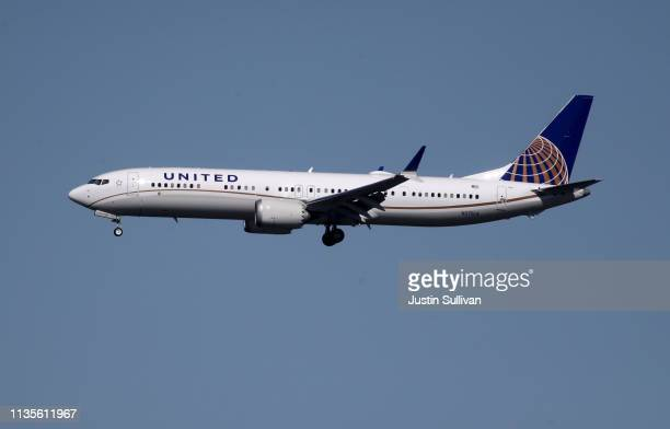 United Airlines Boeing 737 Max 9 aircraft lands at San Francisco International Airport on March 13 2019 in Burlingame California The United States...