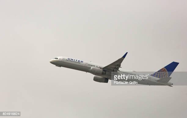 United Airlines Boeing 757 departs Los angeles International Airport on July 30 2017 in Los Angeles California