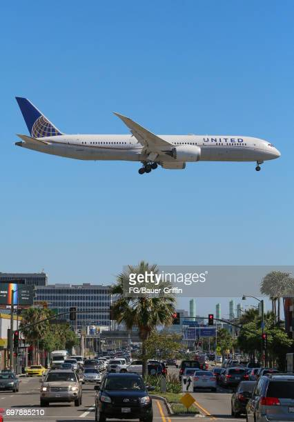 United Airlines Boeing 757 lands at Los Angeles International Airport on June 17 2017 in Los Angeles California